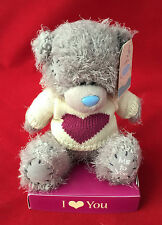 "ME TO YOU BEAR TATTY TEDDY 7"" I LOVE YOU CREAM & PURPLE HEART JUMPER BEAR GIFT"