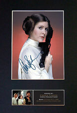 CARRIE FISHER Princess Leia Signed Mounted Autograph Photo Print (A4) No540