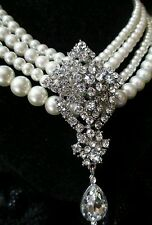 chunky Vintage Pearl Necklace Multi Strand massive Rhinestone wedding prom