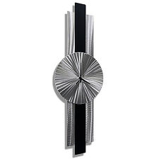 Silver/Black Metal Wall Clock - Mid-Century Modern Metal Wall Art by Jon Allen