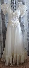 Vintage Wedding Bridal Gown Dress Ruffled Embroidered Puff Sleeve Ivory Small