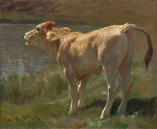 Oil painting Cows cattle Rudolf Koller Brüllendes Rind Bellowing Cow by river @