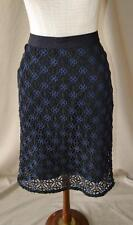 Ann Taylor Black & Blue Crochet Straight Skirt Size 8 P NEW WITH TAGS