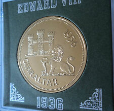 1936 Gibraltar King Edward VIII Abdicated Pattern Crown Coin UNC in Display Case