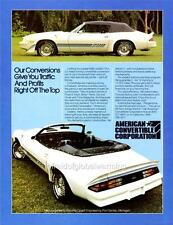 Old Print. 1980 Chevrolet Camaro Z28 Convertible by Amer. Conv. Corp. Auto