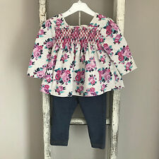 Baby Girl Top & Leggings Outfit Size 0-3 Months Grey Purple Floral Jegging