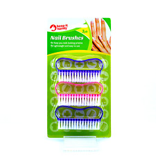 3Pk Nail Art Scrubby Hand Soft Edge Cleaning Manicure Finger Toe Plastic Brushes