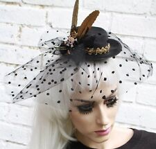 SKULL NET VEIL MINI TOP HAT WIDOW GOTHIC HALLOWEEN GOTH WICCAN STEAM PUNK