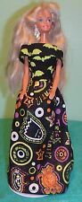 Bright Crazy Icons & Bright Green Bats Halloween Gown for Barbie Doll HH31