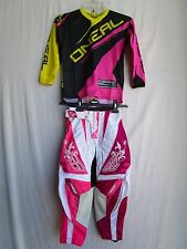 Youth motocross BMX combo set FLY pants size 20, ONEAL pink youth jersey SMALL