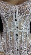34 B Victoria's Secret DESIGNER COLLECTION Corset Garter White Silver Lace $498