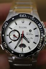 Bulova Luxury Sports Dress Wrist Watch Silver Face Stainless Steel Black Bezel