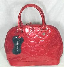 HELLO KITTY EMBOSSED LARGE DOME SATCHEL BOWLER BAG PURSE