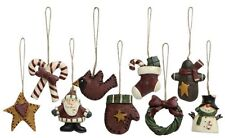 "1"" RESIN MINI OLD WORLD CHRISTMAS TREE ORNAMENTS SET 9 CANDY CANE STOCKING SANTA"