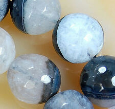12mm Faceted Natural Black Druzy Agate Round Beads 16pcs