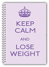 DIET DIARY A5 SLIMMING FOOD TRACKER/DIET & WEIGHT LOSS PLANNER KEEP CALM LILAC