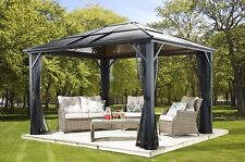 10x10 Meridien Polycarbonate Hard Top gazebo with PVC coated mosquito netting