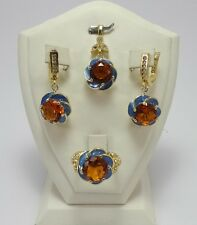 925 STERLING SILVER FINE JEWELRY BRAZIL GOLDEN CITRINE ACCENTED FULL SETS