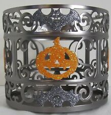 Bath & and Body Works 3-Wick 14.5 oz Candle Sleeve Holder Halloween Pumpkin Bat