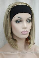 Honey Blonde Mixed Cute 3/4 wig with headband Women Daily half Wig FTLD107