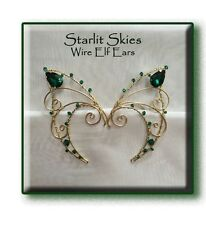 Wire Elf Ears in Brass and Green Swarovski Crystals