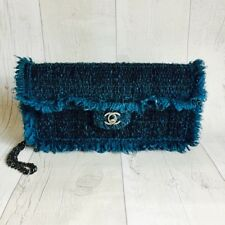 Chanel Handbag Teal Tweed Classic Flap Medium Bag