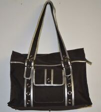 OiOi Black and Grey Diaper Bag Slightly Used Tote Style Orange Interior