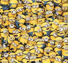 "Despicable Me Yellow Packed Minions 100% cotton 43"" fabric by the yard (36"")"