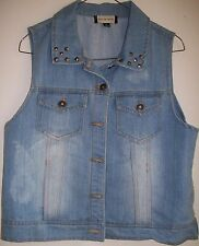 Women's Size Large- Vintage Denim Vest DISTRESSED-Metal Studs