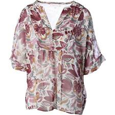 Two by Vince Camuto 1088 Womens Beige Chiffon Boho Blouse Top M BHFO