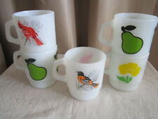 5 VINTAGE FIRE KING COFFEE MUG / CUP 2 Pear - Yellow Flower - Cardinal & Oriole