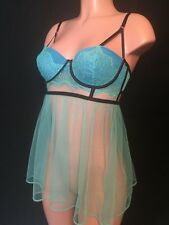 Brand New Victoria's Secret Lingerie Chantilly Lace Babydoll 36D Green&blue