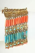 1920'S EGYPTIAN REVIVAL MIDDLE EASTERN FAIENCE & REAL CORAL WIDE BRACELET