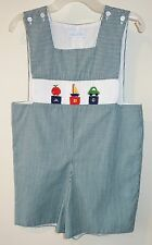 Vive La Fete Green Gingham Smocked ABC Shortall / Jon Jon Boy's Size 4T
