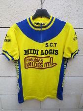 VINTAGE Maillot cycliste Cycles MOTARD Meubles Valdes S.C.T Tricot Noret jaune L