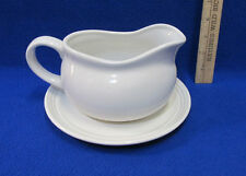 PIC China Gravy Boat & Plate In White Syrup Sauce Salad Dressings Lot Of 2