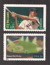 TED WILLIAMS / FENWAY PARK - RED SOX  - 2 U.S. BASEBALL STAMPS - MINT CONDITION