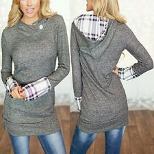Women's Pullover Hooded Sweater Long Sleeves Flannel Solid Grey Sz. M