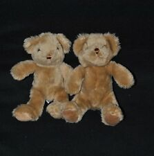 Lot 2 Peluche Doudou Ours The Teddy Bear Collection Brun Marron 21 Cm Etat NEUF