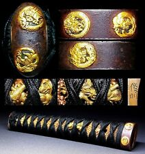 7 Dragons Long KATANA Tsuka Japanese Edo 18-19th C Samurai Antique Signed C396