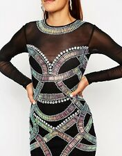 ASOS Black Embellished Festival Armour Bodycon Dress RRP £95 Party Mesh UK 6