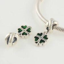 Authentic Pandora Silver 925 ALE Green 4 Leaf Clover Dangle 790572EN25 Charm