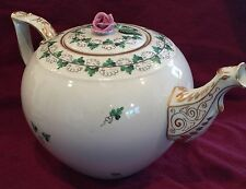 Herend Persil Parsley & Vines Tea Pot #601 with Pink Flower Finial