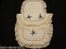 Beautiful  Pram Quilt  and  Pillow  Set  suitable for MOST PRAMS CREAM / BLACK