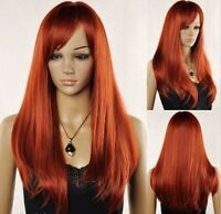 New Women's Long Red Brown Straight Oblique Bangs Cosplay Hair Wig