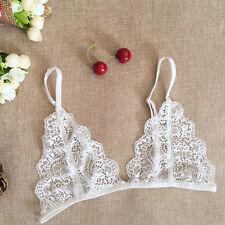 Women's Lace Floral Bra Crop Top Club Bralette V Neck Sheer Bustier Strappy Vest