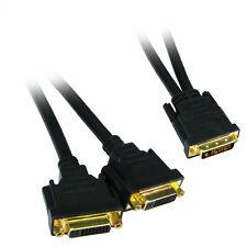 Dvi-d y-splitter câble 1 x mâle vers 2 x femelle sockets gold pins connecteurs