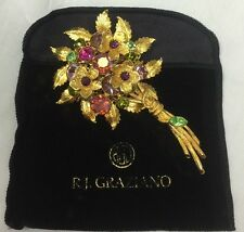 R.J. Graziano FLOWERS  Large Bouquet Crystal Gold Brooch Pin - Designer Brooch