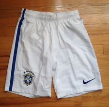 Nike Brasil Soccer Shorts Dri Fit Athletic Brazil CBF Team Training White Sz M