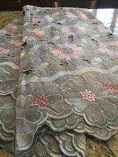 African Swiss Voile Lace Fabric With Rhine Stones. 5yds.